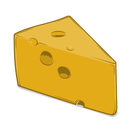 chunk: Cheese Chunk isolated on a white background. Colored line art. Retro design. Vector illustration.