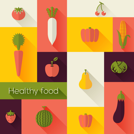 Healthy Food and Farm Fresh Concept. Flat style with long shadows. Modern trendy design. Vector illustration. Vector