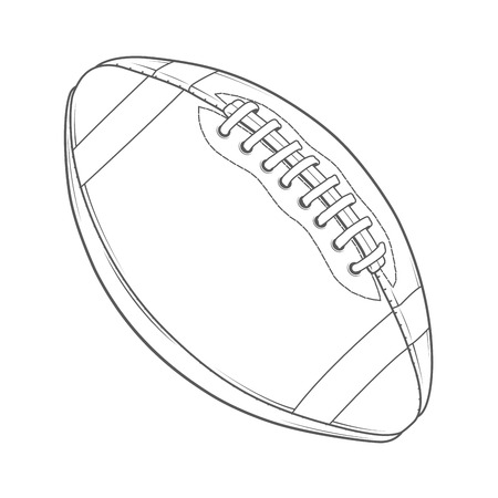 pigskin: American Football Ball isolated on a white background. Monochromatic line art. Retro design. Vector illustration.