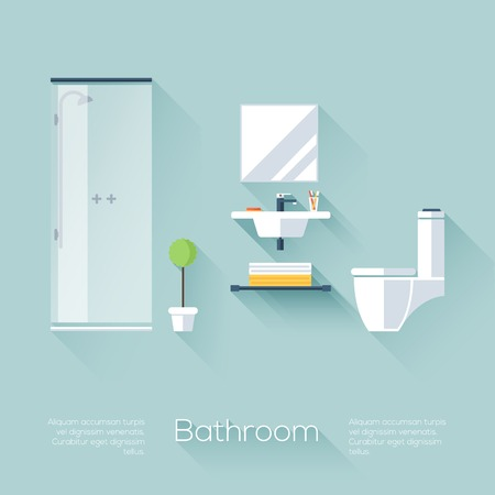 Bathroom Cover with Shower, Sink and Toilet. Flat style with long shadows. Modern trendy design. Vector illustration. Vector