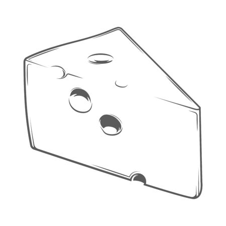gouda: Cheese Chunk isolated on a white background. Monochromatic line art. Retro design. Vector illustration. Illustration