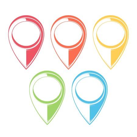 Set of Map Pointers. Gps Icons. Monochromatic line art. Retro design. Vector illustration. Vector