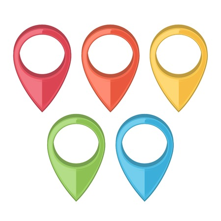Set of Map Pointers. Gps Icons. Colored line art. Retro design. Vector illustration. Vector