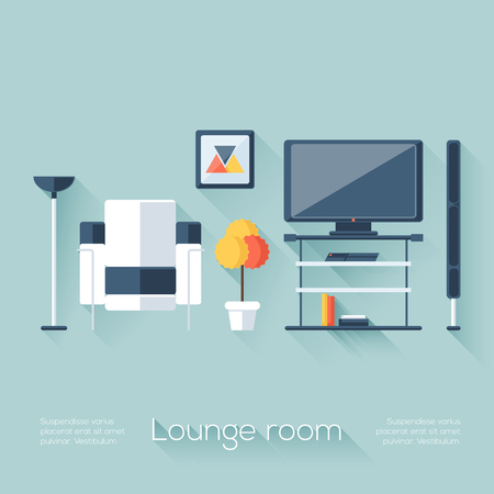 Lounge or Sitting Room Cover with TV, Console, Sofa, Loudspeaker and Lamp. Flat Style with Long Shadows. Modern Trendy Design. Vector Illustration.
