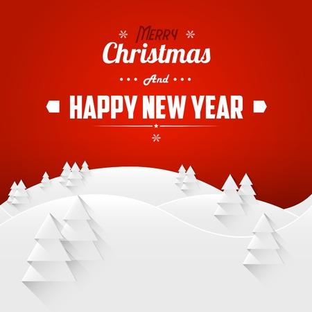 Joyeux Noël et carte de voeux de Bonne Année Paysage. Rétro police. Vector Illustration. Banque d'images - 34581035