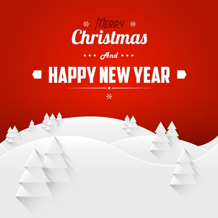 happy new year banner: Merry Christmas and Happy New Year Landscape Greeting Card. Retro Font. Vector Illustration.