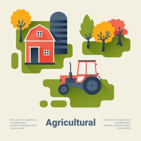 animal farm: Tractor and Barn on the Farm. Agricultural Industry Concept. Flat Style with Long Shadows. Clean Design. Vector Illustration.