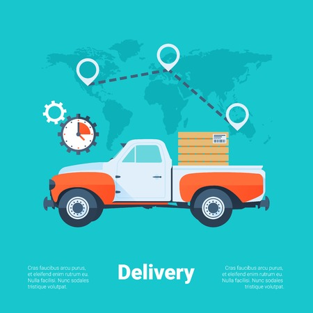 Cargo Truck. Delivery Service Concept. Flat Style with Long Shadows. Clean Design. Vector Illustration. Illustration