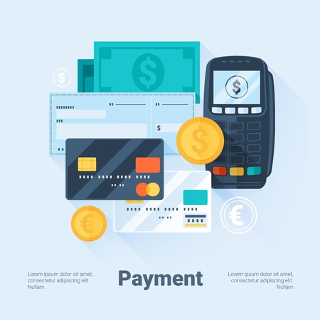 credit card payment: Card, Money, Coins and Cheque. Payment Methods Concept. Flat Style with Long Shadows. Clean Design. Vector Illustration.