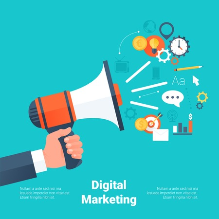 marketing: Hand Holding Megaphone with Cloud of Colorful Application Icons on Media Theme. Digital Marketing Concept. Flat Style with Long Shadows. Clean Design. Vector Illustration.