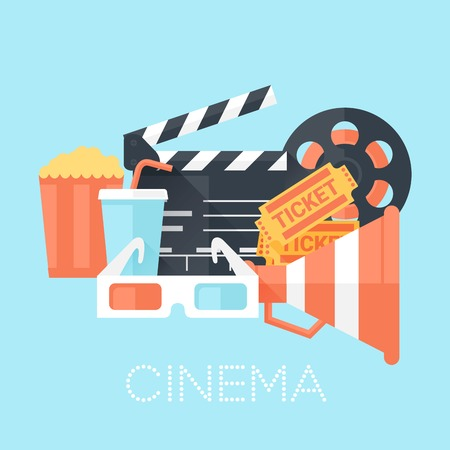 Cinema Poster with 3D Glass, Megaphone, Tickets, Bobbin, Clapper Board, Popcorn and Drink. Flat Style with Long Shadows. Clean Design. Vector Illustration.
