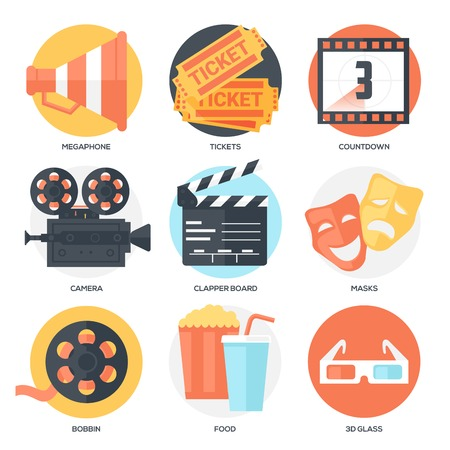 Cinema Icons Set (Megaphone, Tickets, Countdown, Camera, Clapper Board, Masks, Bobbin, Popcorn and Drink, 3D Glass). Flat Style with Long Shadows. Clean Design. Vector Illustration. Illustration
