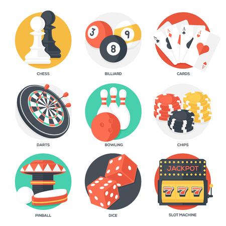 dados: Casino Deporte y Juegos Ocio Iconos (ajedrez, billar, poker, Dardos, Bolos, Virutas de juego, Pinball, Dados y Slot Machine). Estilo plana. Clean Design. Ilustración del vector.