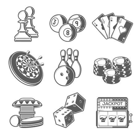 dados: Casino Deporte y Juegos Ocio Iconos (ajedrez, billar, poker, Dardos, Bolos, Virutas de juego, Pinball, Dados y Slot Machine). Estilo esquema negro. Ilustración del vector.