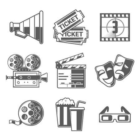Cinema Icons Set (Megaphone, Tickets, Countdown, Camera, Clapper Board, Masks, Bobbin, Popcorn and Drink, Glasses). Black Outline Style. Vector Illustration.