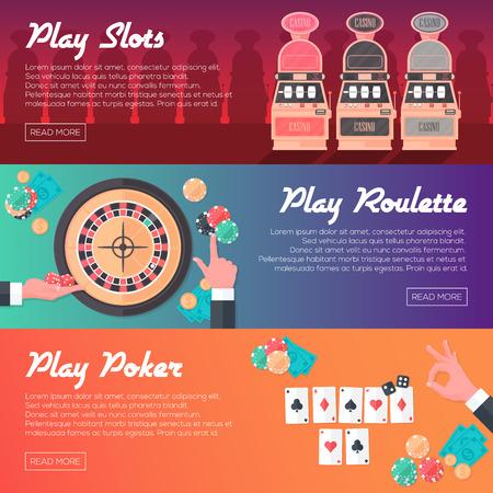 ruleta de casino: Casino Horizontal Banner Set Slot Machine Poker y Ruleta. Estilo plana. Diseño Limpio. Ilustración del vector.