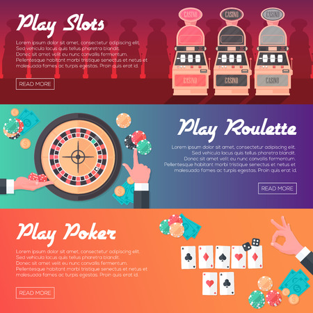 Casino Horizontal Banner Set Slot Machine Poker and Roulette. Flat Style. Clean Design. Vector Illustration.