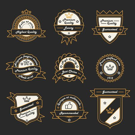 shield logo: Set of Monochrome Hipster Vintage Label Logo and Badge Templates. Trendy Line Design. Vector Illustration.