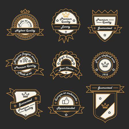 Set of Monochrome Hipster Vintage Label Logo and Badge Templates. Trendy Line Design. Vector Illustration.