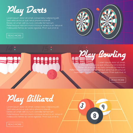 Casino Horizontal Banner Set Darts, Bowling and Billiard. Flat Style. Clean Design. Vector Illustration. Illustration