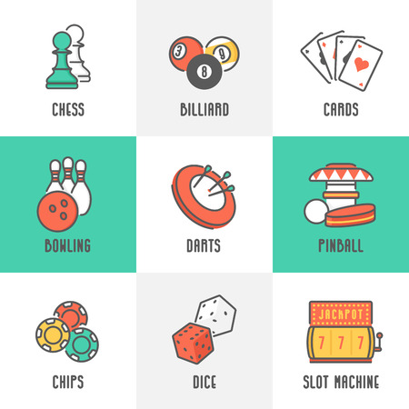 Casino Sport and Leisure Games Icons Chess, Billiard, Poker, Darts, Bowling, Gambling Chips, Pinball, Dice and Slot Machine. Trendy Line Design with Flat Elements. Vector Illustration. Illustration