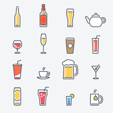 Drinks Icons Set. Trendy Thin Line Design with Flat Elements. Vector Illustration. Vettoriali