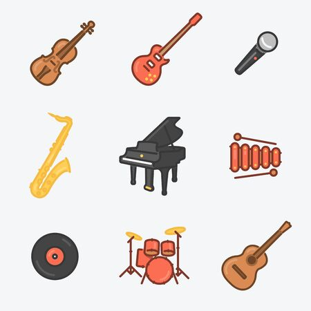 Musical Instruments Icons Set Violin, Electric Guitar, Mic, Saxophone, Royal, Xylophone, Wax, Drums, Classic Guitar. Trendy Thin Line Design with Flat Elements. Vector Illustration. Illustration