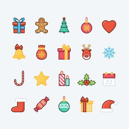 Set of Christmas Icons. Trendy Thin Line Design with Flat Elements. Vector Illustration. Illustration