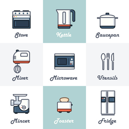 Kitchen Icons Set Stove, Kettle, Saucepan, Mixer, Microwave, Utensils, Mincer, Toaster, Fridge. Trendy Thin Line Design with Flat Elements. Vector Illustration.