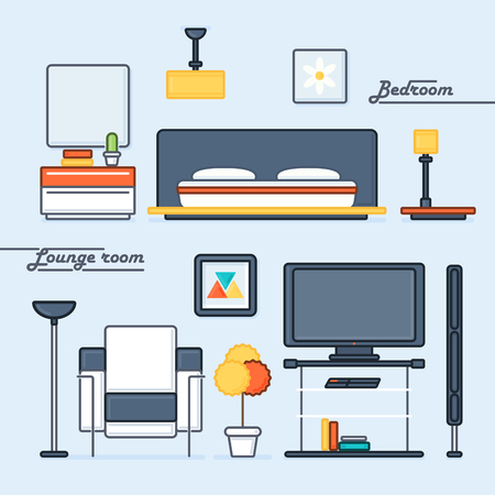 Lounge Room and Bedroom Covers with TV, Console, Sofa, Loudspeaker, Chandelier and Nightstand. Trendy Thin Line Design with Flat Elements. Vector Illustration.