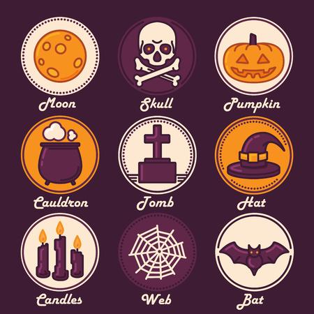 祝賀会: ハロウィン アイコン セット月、頭蓋骨、カボチャ、大釜、墓、帽子、キャンドル、Web、バット。平らな要素とデザインの流行の細い線。ベクトルの図。