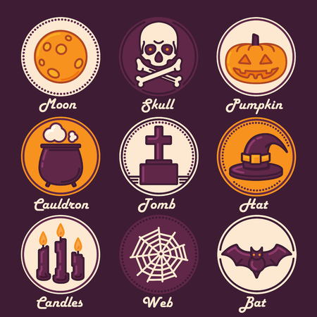 Halloween Icon Set Moon, Skull, Pumpkin, Cauldron, Tomb, Hat, Candles, Web, Bat. Trendy Thin Line Design with Flat Elements. Vector Illustration.