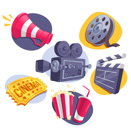 movie and popcorn: Movie Icons Set Megaphone, Reel, Camera, Ticket, Clappperboard and Fast Food. Vector Illustration. Illustration