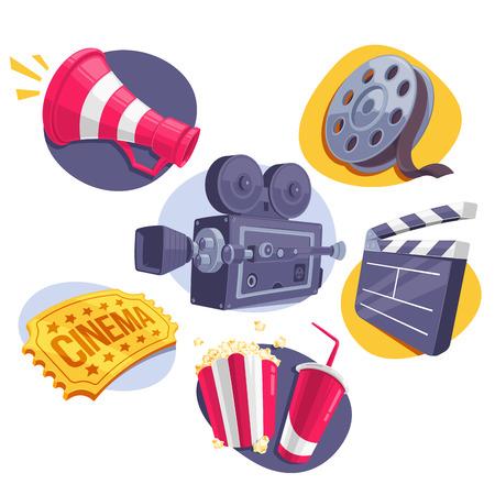cine: Película de conjunto de iconos del megáfono, carrete, cámara, entradas, Clappperboard y comida rápida. Ilustración del vector. Vectores