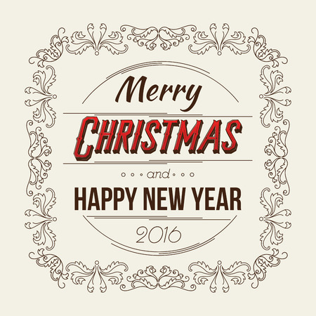 Merry Christmas and Happy New Year Card. Retro Typography Style with Swirls. Vector Illustration.