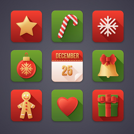 Set of Christmas Icons Isolated. Detailed Material Design with Flat Elements and Long Shadows. Vector Illustration.