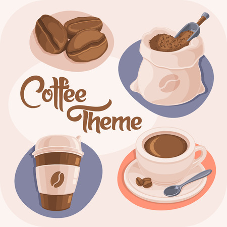 Coffee Theme Icons Set Isolated on Beige Background. Coffee Beans, Bag, Paper Cup and Ceramic Cup. Vector Illustration. Illustration