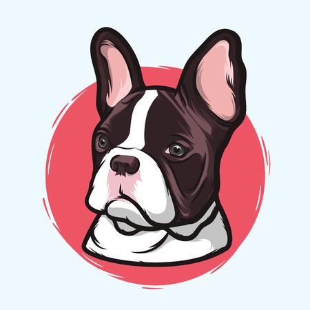 Primer retrato de la raza Bulldog Francés perro doméstico en el fondo blanco. Dibujados a mano de dibujo de línea. Ilustración del vector.