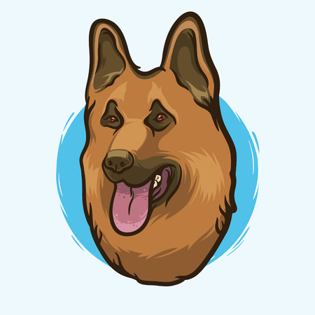 Closeup Portrait of the German Shepherd Dog Breed on the White Background. Hand Drawn Line Art. Vector Illustration.