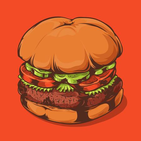 Closeup Hamburger Isolated on Orange Background. Hand Drawn Line Art. Vector Illustration. Ilustração