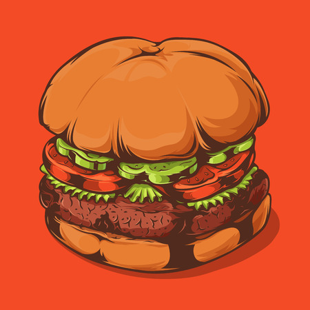 Closeup Hamburger Isolated on Orange Background. Hand Drawn Line Art. Vector Illustration. Illustration