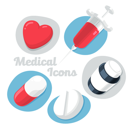 Medical Theme Icons Set Isolated on White Background. (Heart, Pills, Syrup, Syringe). Vector Illustration.
