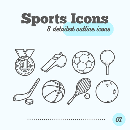 Sports Icons Set (Medal, Whistle, Soccer, Golf, Hockey, Basketball, Tennis, Bowling). Trendy Thin Line Design. Vector Illustration.