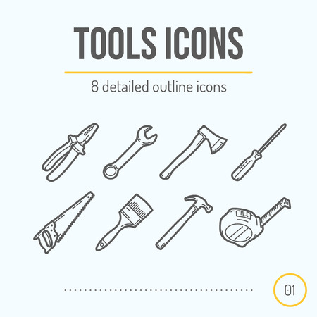 Tools Icons Set (Pliers, Wrench, Axe, Screwdriver, Saw, Brush, Hammer, Tape Measure). Trendy Thin Line Design. Vector Illustration. Illustration