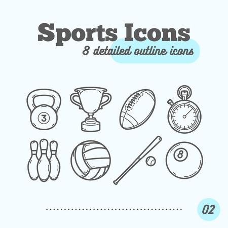 Sports Icons Set (Kettlebell, Trophy, Football, Timer, Skittles, Volleyball, Baseball, Billiard Ball). Trendy Thin Line Design. Vector Illustration.