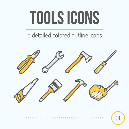 Tools Icons Set (Pliers, Wrench, Axe, Screwdriver, Saw, Brush, Hammer, Tape Measure). Trendy Thin Line Design. Colored Version. Vector Illustration. Иллюстрация