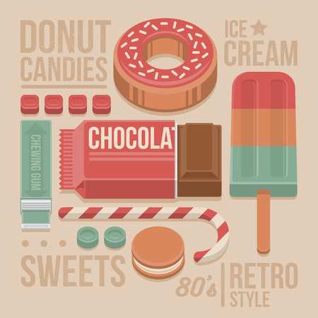 Confectionery Vintage Cover - Donut, Chocolate Bar, Lollipop, Cookies, Sweet Candies, Chewing Gum and Ice-cream. 80s Retro Style with Flat Elements Isolated on Beige Background. Vector Illustration. Иллюстрация