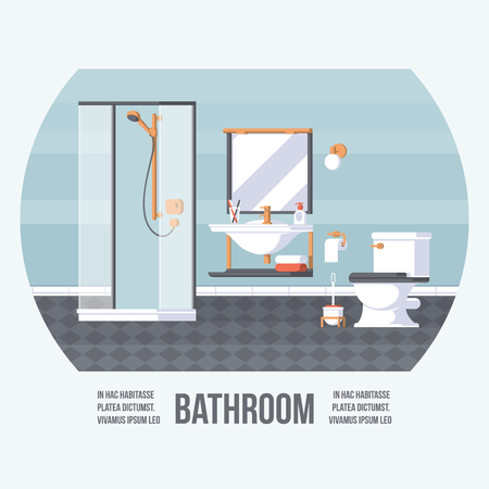 Bathroom Cover with Shower, Sink and Toilet. Vintage Retro Style with Flat Elements. Modern Trendy Design. Vector Illustration.