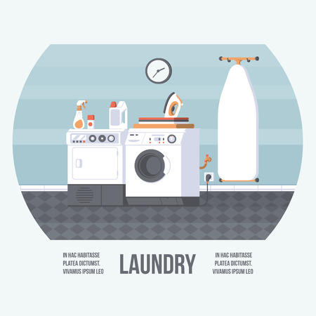 Laundry Room Cover with Washing Machine, Iron Board and Dryer. Vintage Retro Style with Flat Elements. Modern Trendy Design. Vector Illustration.