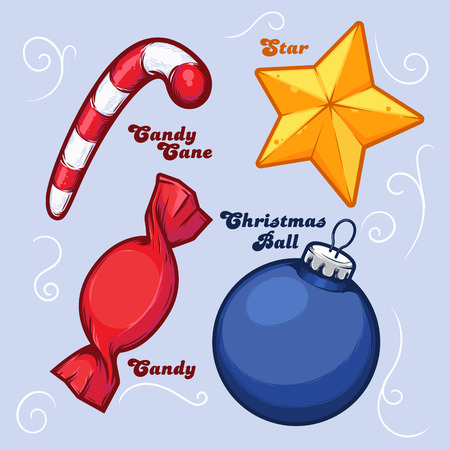 Set of Christmas Objects - Star, Ball, Candy, Cane. Detailed Ink Design. Vector Illustration. Иллюстрация